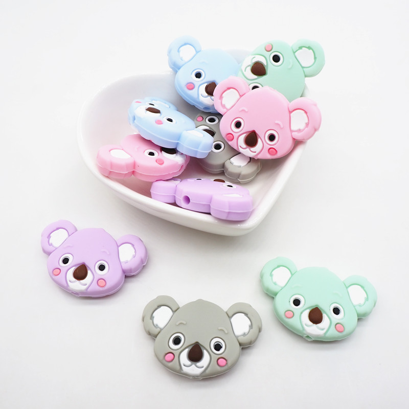 Chenkai 10PCS Silicone Koala Teether Beads DIY Animal Teething Necklace Beads For Baby Dummy Cartoon Pacifier Toy Accessories