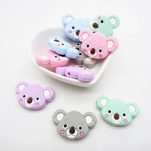 Chenkai 10PCS Silicone Koala Teether Beads DIY Animal Teething Necklace Beads For Baby