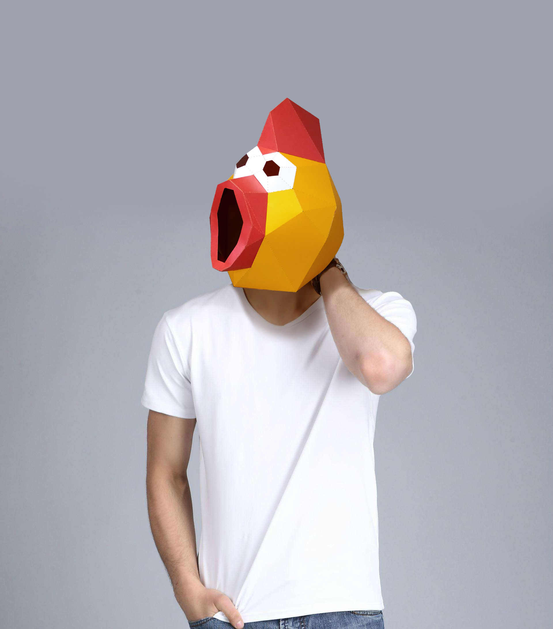 Paper Mask 3d Shrilling Chicken Costume Cosplay DIY Paper Craft Model Mask Christmas Halloween Prom Party Gift