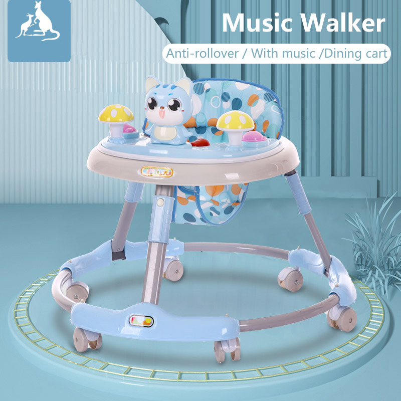 Round walker multi functional anti-rollover baby walker with music baby toy with music First Steps Trolley Toddler Sit-to-Stand