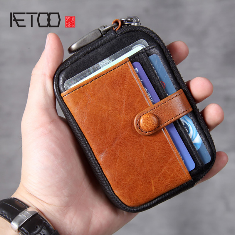 AETOO Head Leather Zero Wallet, Leather Key Bag, Handmade Mini Ultra-thin Driver's License Bag