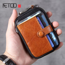 AETOO Head leather zero wallet, leather key bag, handmade mini ultra-thin driver's license bag(China)