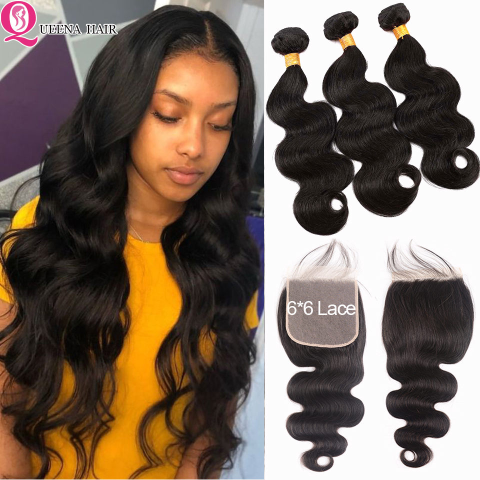 6*6 Lace Closure With Bundles Remy Body Wave Bundles With Closure Transparent HD Lace Closure Brazilian Human Hair Weave Bundles