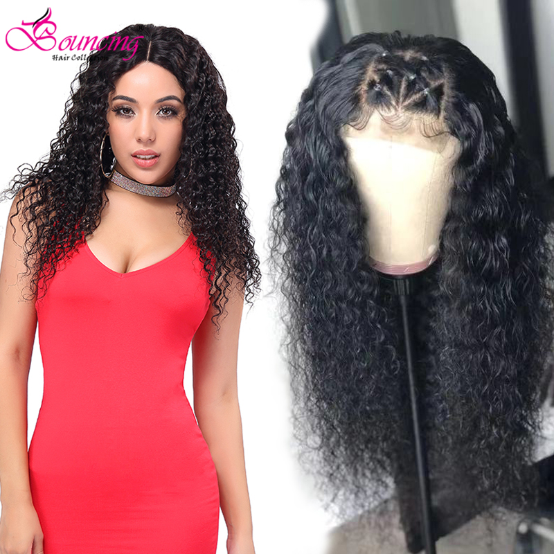 Bouncing Kinky Curly Lace Closure Wigs Brazilian 4x4 Lace Closure Human Hair Wigs Natural Color 150 Density Curly Remy Wigs