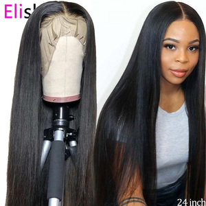 Straight Natural Wig Transparent Lace Front Human Hair Wigs 13x4 Brazilian Glueless Lace Wig Pre Plucked 150% Remy Bleach Knots(China)