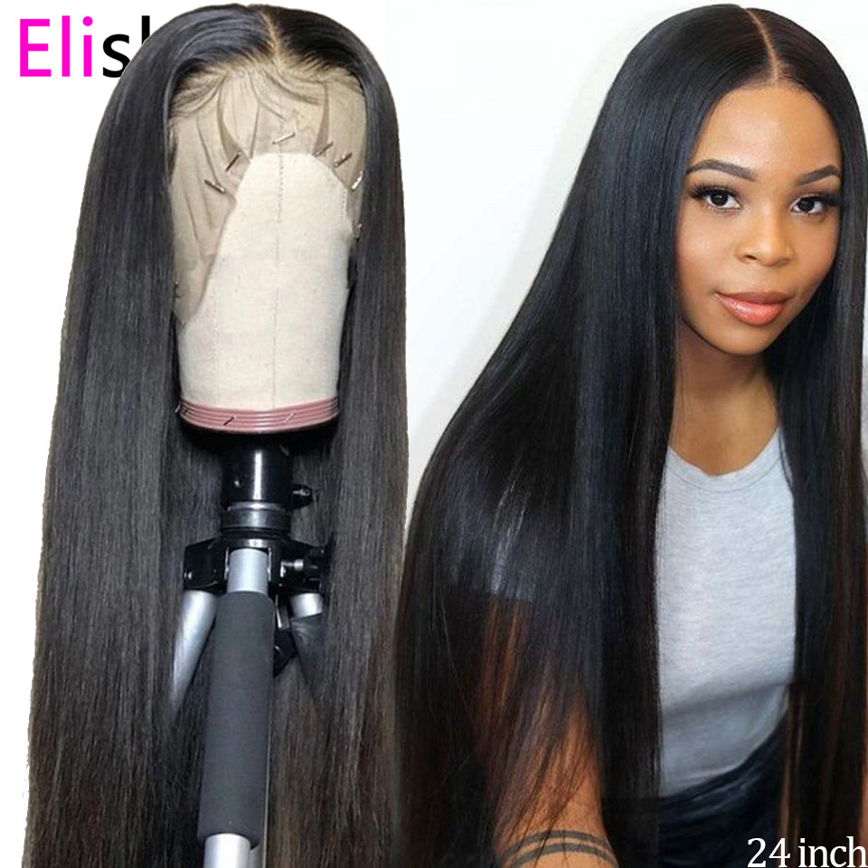Straight Natural Wig Transparent Lace Front Human Hair Wigs 30 Inch Pre Plucked Bleach Knots 13x6 Brazilian Glueless Lace Wigs