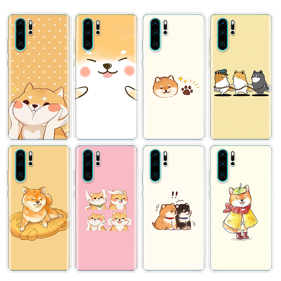 Animal Shiba Inu Painted Phone Case For Huawei P40 P30 P20 P10 Mate 20 30 10 P Smart Z + Plus Lite Pro Fashion Cover Coque Capa
