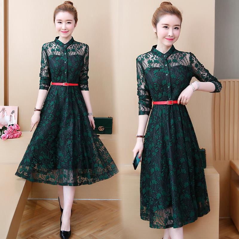 L-5XL Plus size Autumn Women Green Lace Dress Female Elegant Large size Long Evening Party Vestido Button Office Lady Lace Dress