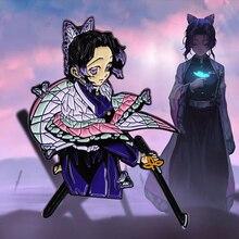 Kimetsu No Yaiba - Demon Slayer lapel Pin Anime Girl Butterfly Shinobu Kochou with Sword Brooch