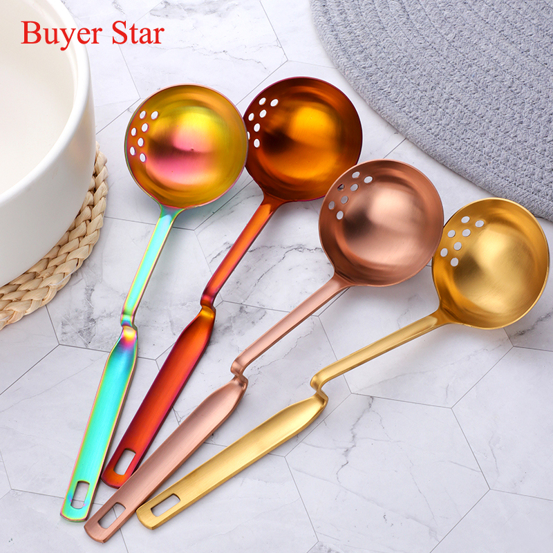 1 Pcs Stainless Steel Soup Spoon Filter Colander 2 In 1 Long Handle Kitchen Tool