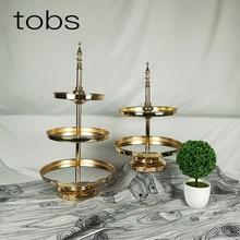 Gold Crystal cake stand set Electroplating gold rose mirror face wedding