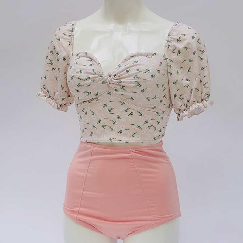 Yeni kore sevimli papatya baskı kısa kollu yüksek bel bölünmüş mayo Bikini kaplıca tatil mayo küçük göğüs mayo