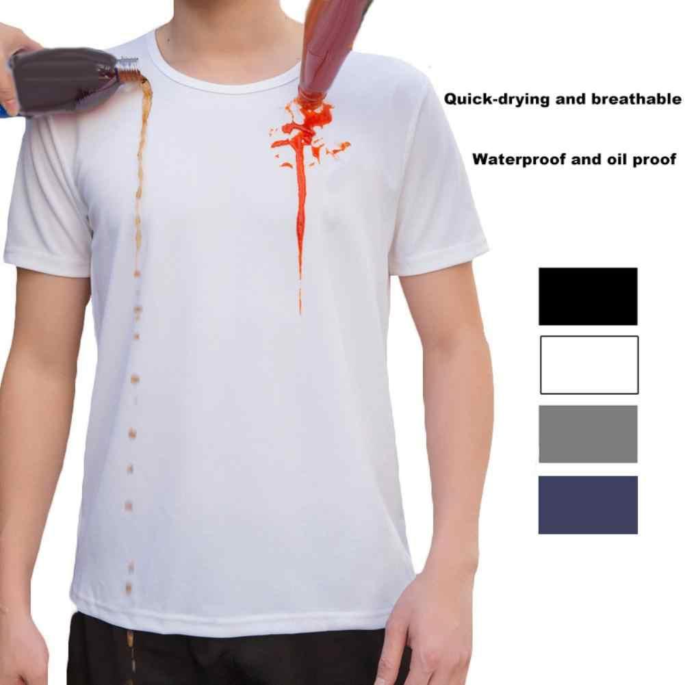 抗汚い防水無地メンズ tシャツ o ネック半袖クイックドライトップ
