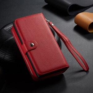 Image 2 - Fermeture à glissière portefeuille en cuir étui pour samsung Galaxy S10 Plus S10e S9 Plus S8 Plus Note 10 Plus 9 8 sac à main pochette coque de téléphone
