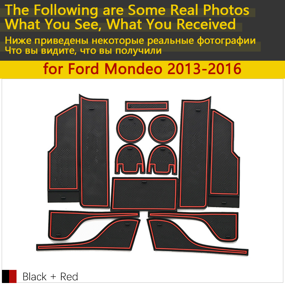Image 2 - Anti Slip Rubber Cup Cushion Door Groove Mat for Ford Mondeo Fusion V MK5 5 2013~2016 2014 2015 14Pcs Accessories mat for phone-in Car Stickers from Automobiles & Motorcycles