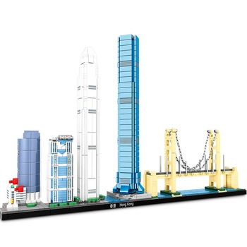 World famous building Architecture Skyline Hong Kong Collection  city Building Blocks Kit Brick Model Toys for Children Gift