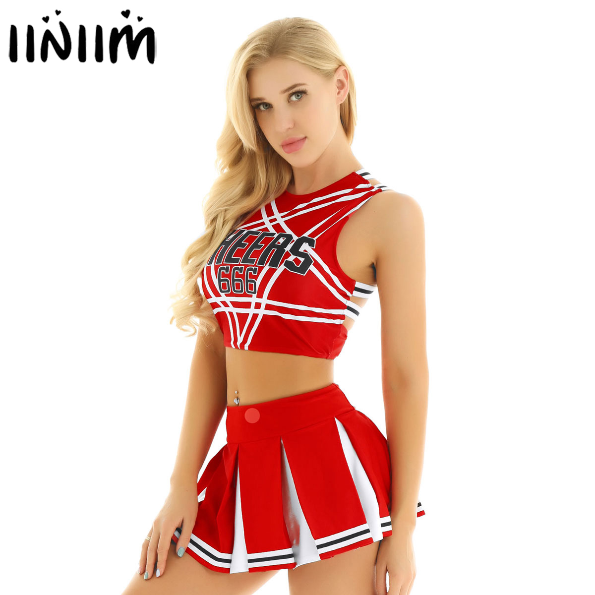 US UK STOCK Women Japanese Schoolgirl Cosplay Uniform Girl Sexy Lingerie Gleeing Cheerleader Costume Set Halloween Costume Femme