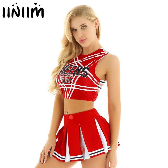 Ons Uk Voorraad Vrouwen Japanse Schoolmeisje Cosplay Uniform Meisje Sexy Lingerie Gleeing Cheerleader Kostuum Set Halloween Kostuum Femme