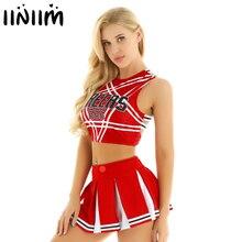 US UK STOCK Women Japanese Schoolgirl Cosplay Uniform Girl Sexy Lingerie Gleeing Cheerleader Costume Set Halloween Costume Femme