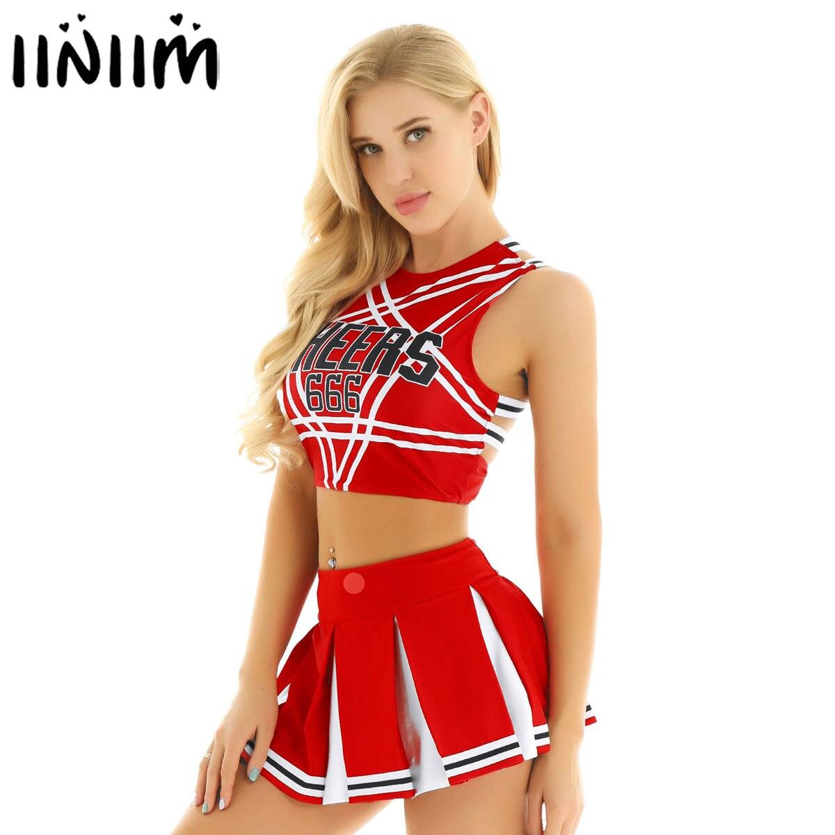 Women Sexy Japanese Schoolgirl Cosplay Uniform Dirndl Girl Sexy Lingerie Gleeing Cheerleader Costume Set Halloween Costume Femme