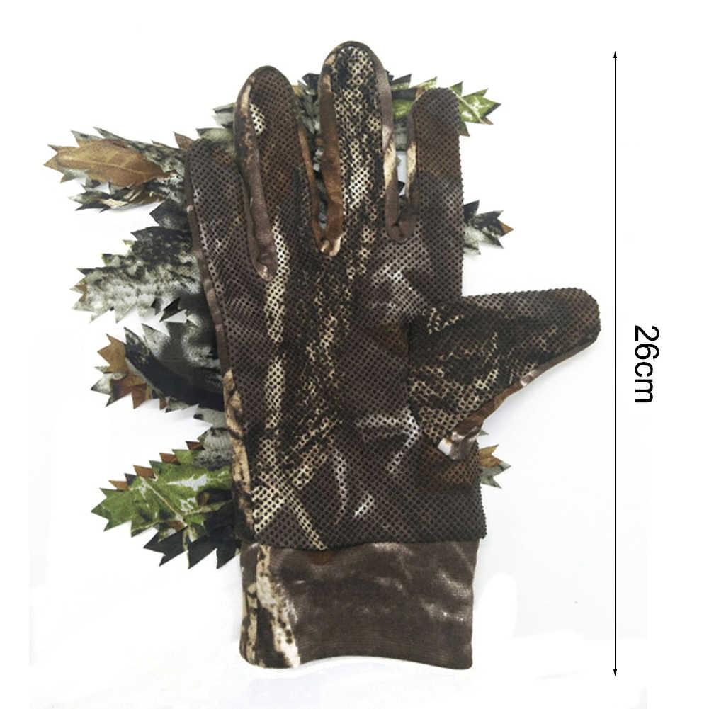 屋外狩猟射撃手袋 3D 葉バイオニック迷彩フルフィンガーグローブ大人ノンスリップポリエステル手袋