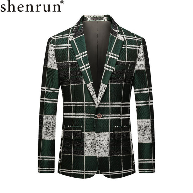 Shenrun Men Blazers Green Cotton Youth Fashion Jackets Check Casual Blazer Slim Fit Costumes Singer Host Party Prom Suit Jacket