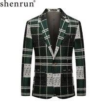 Shenrun 남자 블레이저 그린 코튼 청소년 패션 재킷 체크 캐주얼 블레이저 슬림 피트 의상 가수 호스트 파티 댄스 파티 정장 재킷