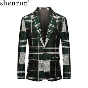 Image 1 - Shenrun 男性ブレザーグリーン綿若者のファッションジャケットチェックカジュアルブレザースリムフィット衣装歌手ホストパーティーウェディングスーツジャケット