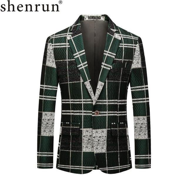 Shenrun 男性ブレザーグリーン綿若者のファッションジャケットチェックカジュアルブレザースリムフィット衣装歌手ホストパーティーウェディングスーツジャケット