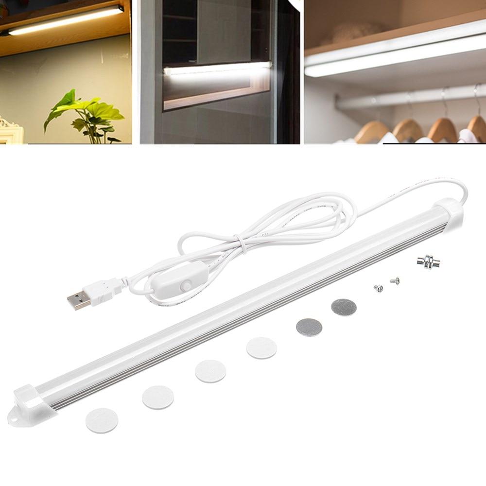 Ultra Bright 5W LED Cabinet Light 4000K White USB Strip Tube Lamp Cupboard Under Cabinet kitchen Closet Shelf Wardrobe Bar Lamp(China)