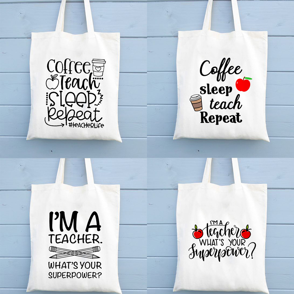 Coffee Teach Sleep Repeat Teacher Life Tote Bag Shoulder Bags Large Capacity Fashion Casual Handbag Totebags Teachers Gift