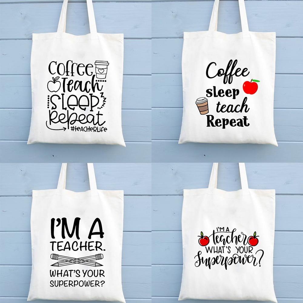 Coffee Teach Sleep Repeat Teacher Life Tote Bag Shoulder Bags Large Capacity Fashion Casual Handbag Totebags Teachers Gift