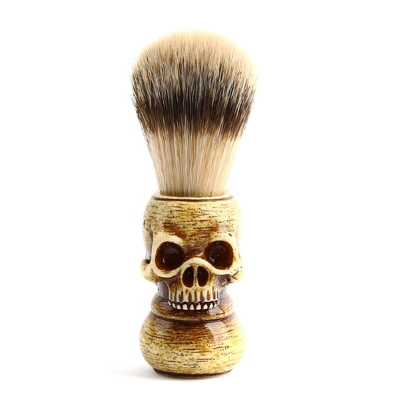 Homens escova de barbear barbeiro salão crânio texugo cabelo barba facial limpo barbear ferramenta navalha escova com alça de madeira presente masculino