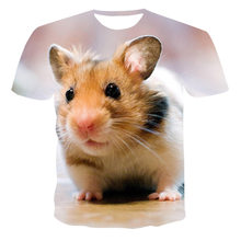 20213D New Rodent Cute Hamster Man Summer Print T-Shirt Funny Cheek Animal Comfortable Casual Round Neck Top Can Be Customized