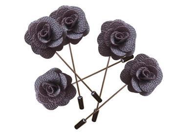 100Pcs Gray Handmade Guest Boutonniere Pins Silk Rose Artificial Flowers Groomsman Best Men Women Brooch Corsage Wedding Flower