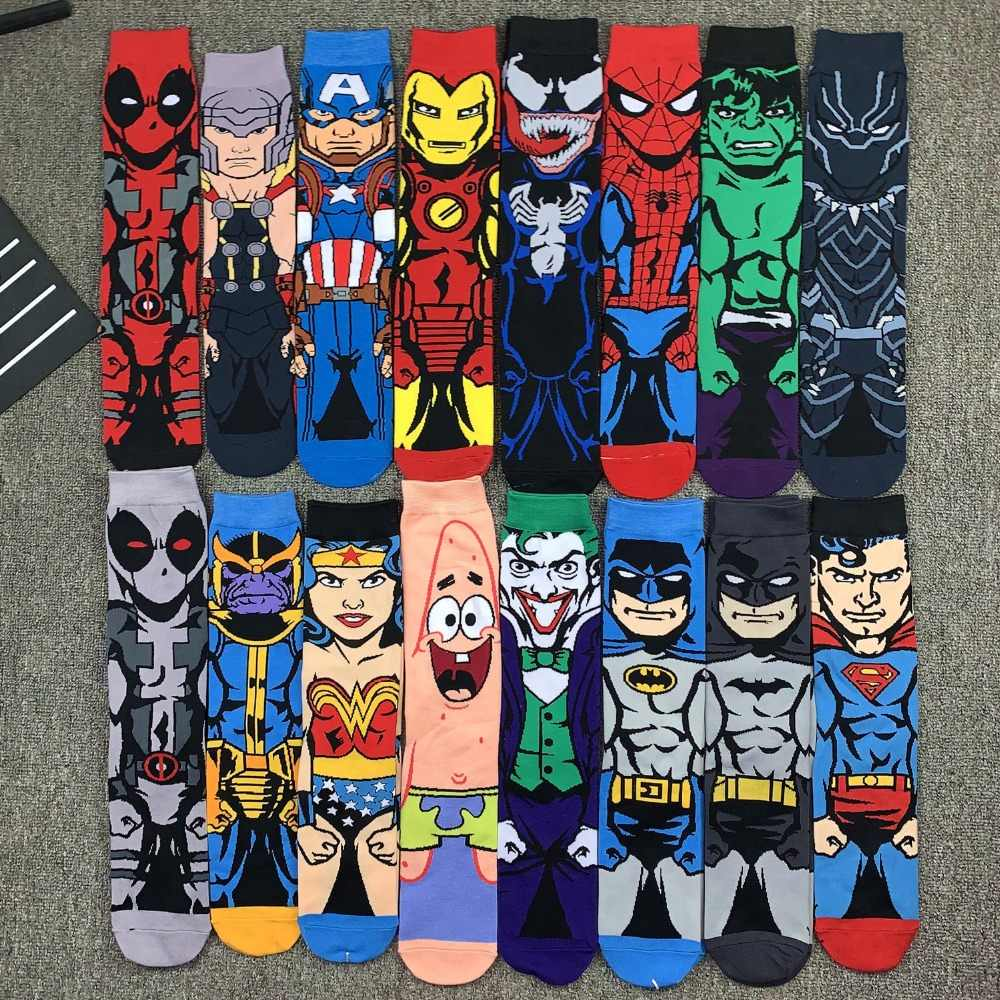 USA mode dessin animé super-héros chaussettes hommes Long heureux Art Funky chaussettes fou Cool Flash Superman capitaine Avengers chaussettes