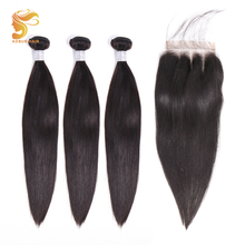 AOSUN HAIR Peruvian Straight Bundles With Closure 3 Hair Remy Human with 8-26Inches