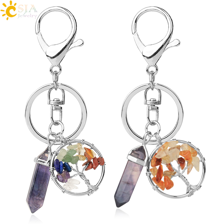 CSJA Natural Stone Fluorite Tree Of Life Pendants Keychain Lobster Clasp Key Holder Car Backpack Accessories Unique Jewelry G380
