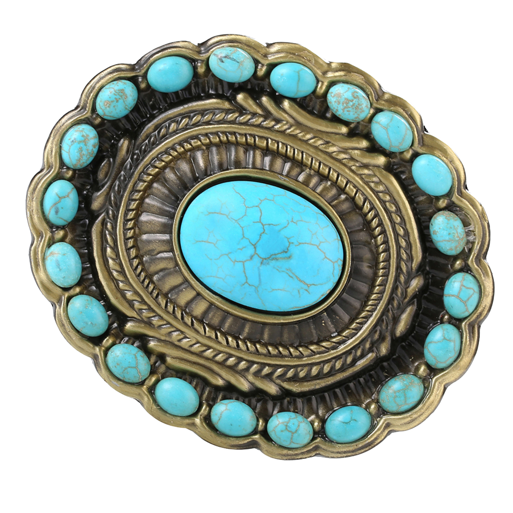 Bohemia Western Cowboy Cowgirl Belt Buckle Vintage Turquoise Indian Bead Buckle Belt Accessories