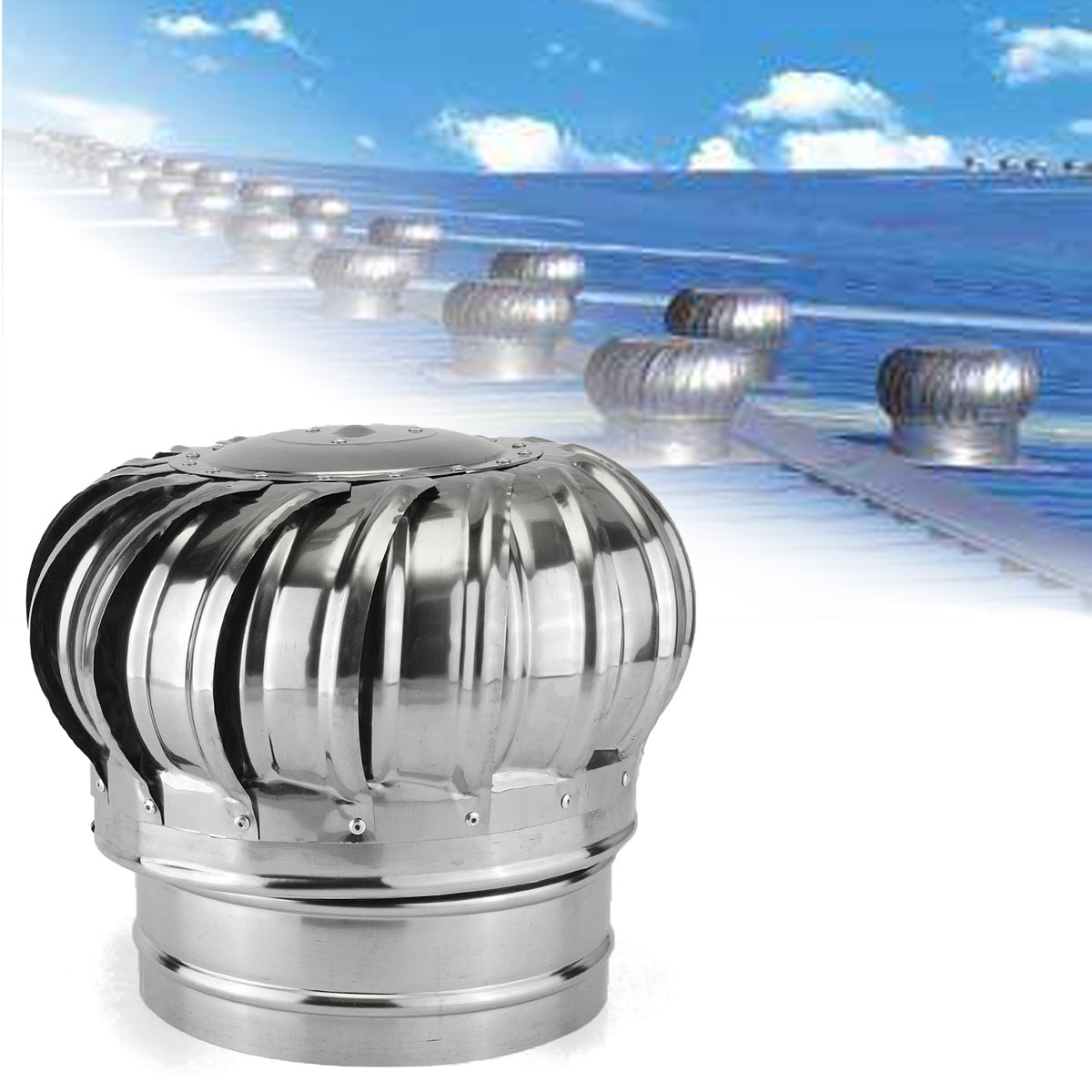 304 Stainless Steel Roof Ventilator Wind Turbines Air Vent Attic Ventilator 110mm 150mm 200mm Pipefit Roof Ventilating Fan