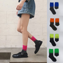 Hot Socks Stylish Pure Color Classic Stripes Casual Neon Women Harajuku Fluorescence Green Short Winter Cotton