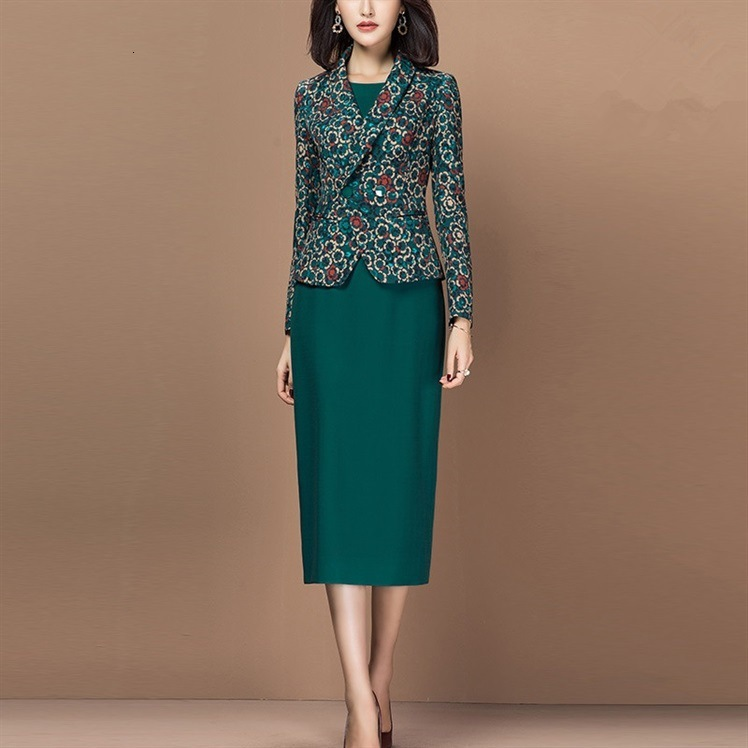 Women Suit Elegant Office Lady Formal Slim Long Sleeve Floral Blazer Jacket Sleeveless Pencil Dress Two Piece Set Outfits Female