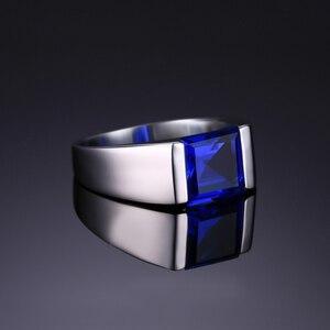 Image 3 - Jewpalace 3.3ct Gemaakt Sapphire Ring 925 Sterling Zilveren Ringen Voor Mannen Trouwringen Zilver 925 Edelstenen Sieraden Fijne Sieraden