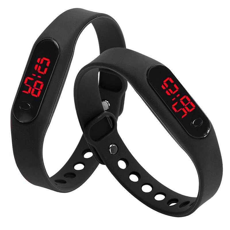 Hot TTKK moda LED kobiet mężczyzna data sportowy zegarek z bransoletką guma cyfrowy nadgarstek zegarki czarny