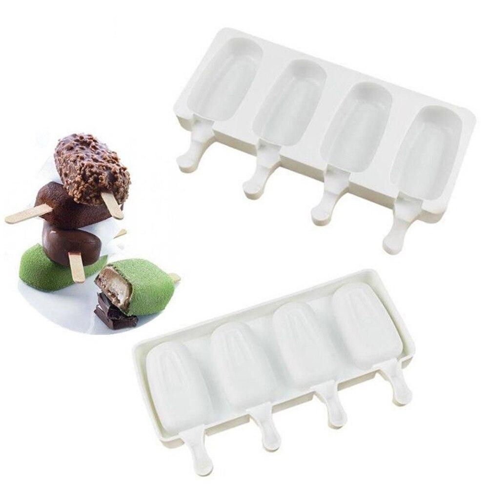 Силиконовая форма для льда «формы для крема 4 ячейки поднос кубика льда Еда безопасный эскимо чайник DIY домашний морозильник форма морожено...