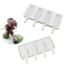 Moldes de sorvete de silicone 4 células bandeja de cubo de gelo alimentos seguro fabricante de picolé diy congelador caseiro gelo lolly molde cozinha casa