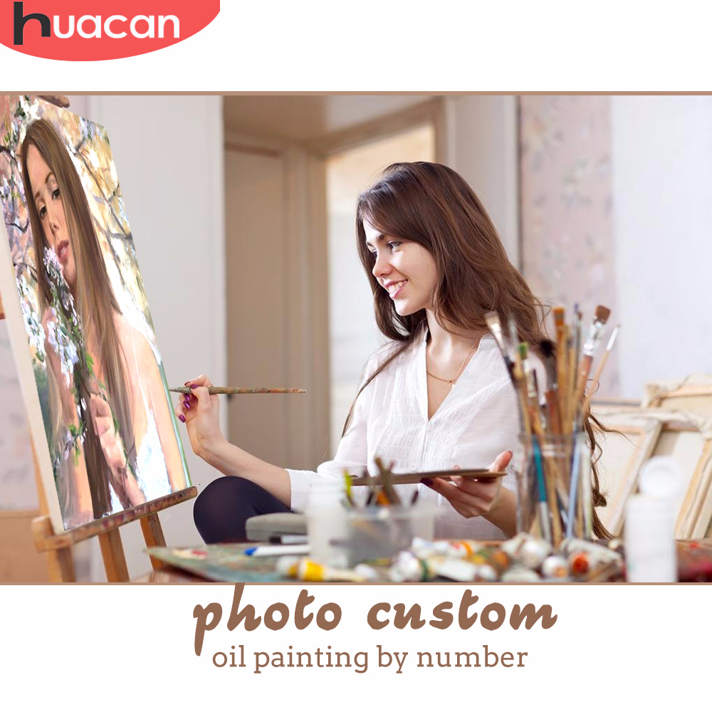 HUACAN Painting By Numbers Photo Customized DIY Oil Kits Drawing Canvas Pictures Portrait Wedding Gift Paint Coloring By Numbers