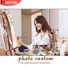 HUACAN Painting By Numbers Photo Customized DIY Oil Kits Drawing Canvas Pictures Portrait Wedding Gift Paint Coloring