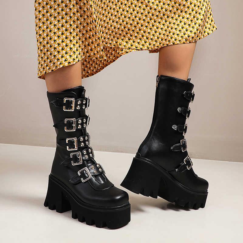 Kış gotik Punk bayan platformu çizmeler siyah toka kayış fermuar sarmaşık takozlar ayakkabı orta buzağı askeri postal u542