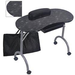 نمط الموضة مع حقيبة مستقرة ودائمة قابلة للإزالة المحمولة للطي طاولة أظافر طاولة أظافر مع درج عجلة المنقولة MT-017F